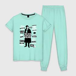 Пижама хлопковая женская Я верю в Шерлока Холмса цвета мятный — фото 1