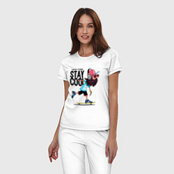 Пижама хлопковая женская Stay cool цвета белый — фото 2