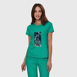 Пижама хлопковая женская Delaney Art цвета зеленый — фото 2