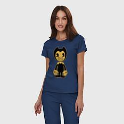 Пижама хлопковая женская Bendy цвета тёмно-синий — фото 2