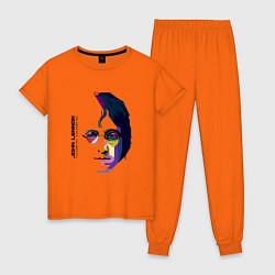 Пижама хлопковая женская John Lennon: Techno цвета оранжевый — фото 1