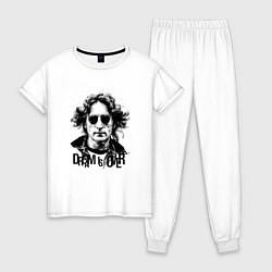 Пижама хлопковая женская Dream is over цвета белый — фото 1