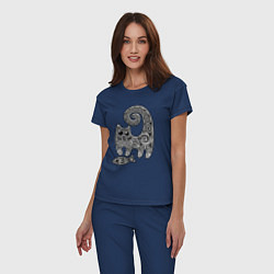 Пижама хлопковая женская Кот3 цвета тёмно-синий — фото 2