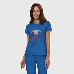Пижама хлопковая женская Dovahkiin цвета синий — фото 2