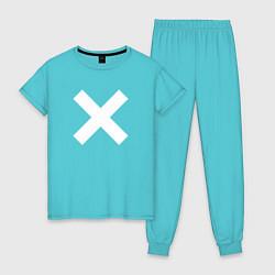 Пижама хлопковая женская The XX: White X цвета бирюзовый — фото 1