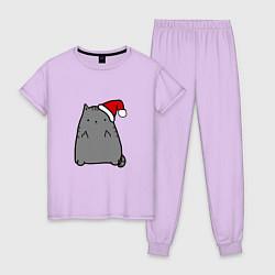 Пижама хлопковая женская New Year Kitty FCK цвета лаванда — фото 1