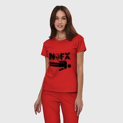 Пижама хлопковая женская NOFX crushman цвета красный — фото 2