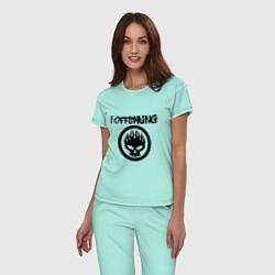 Пижама хлопковая женская The Offspring цвета мятный — фото 2