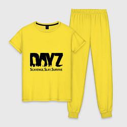 Пижама хлопковая женская DayZ: Slay Survive цвета желтый — фото 1