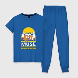 Пижама хлопковая женская Muse: Black Holes цвета синий — фото 1