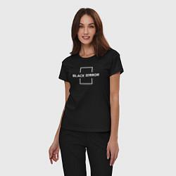 Пижама хлопковая женская Black Mirror цвета черный — фото 2