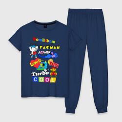 Пижама хлопковая женская Бренды 90-х цвета тёмно-синий — фото 1
