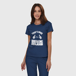 Пижама хлопковая женская That's Who Loves Breaking Benjamin цвета тёмно-синий — фото 2
