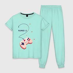 Пижама хлопковая женская Perfect Team: Player 1 цвета мятный — фото 1