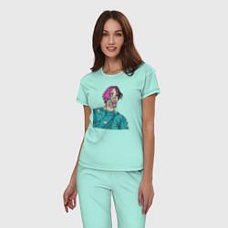 Пижама хлопковая женская Lil Peep: Zombie Face цвета мятный — фото 2