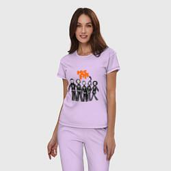 Пижама хлопковая женская Misfits Skeletons цвета лаванда — фото 2
