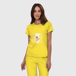 Пижама хлопковая женская Сектор Газа: 30 лет цвета желтый — фото 2