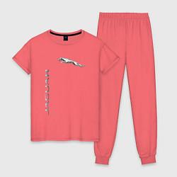 Пижама хлопковая женская Jaguar Motors цвета коралловый — фото 1