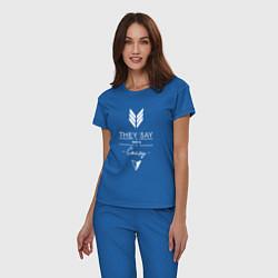 Пижама хлопковая женская They say were crazy цвета синий — фото 2