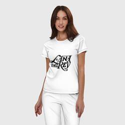 Пижама хлопковая женская Lana Del Rey цвета белый — фото 2