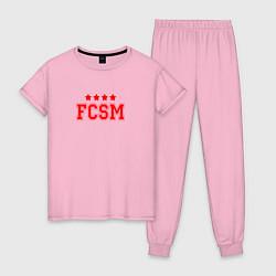 Пижама хлопковая женская FCSM Club цвета светло-розовый — фото 1