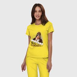 Пижама хлопковая женская Kurt Cobain in glasses цвета желтый — фото 2