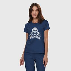 Пижама хлопковая женская Yelawolf цвета тёмно-синий — фото 2