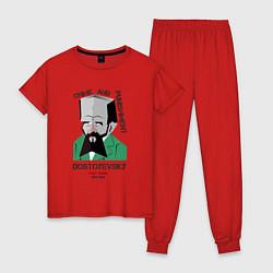 Пижама хлопковая женская Dostoevsky Crime цвета красный — фото 1