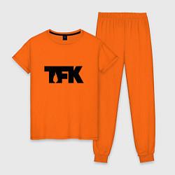 Пижама хлопковая женская TFK: Black Logo цвета оранжевый — фото 1