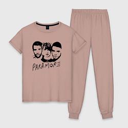 Пижама хлопковая женская Paramore Band цвета пыльно-розовый — фото 1