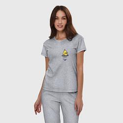 Пижама хлопковая женская Попугай в кармане цвета меланж — фото 2