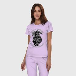 Пижама хлопковая женская Sons of Anarchy: Redwood Original цвета лаванда — фото 2