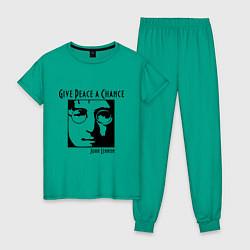 Пижама хлопковая женская Give Peace a Chance цвета зеленый — фото 1