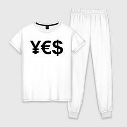 Пижама хлопковая женская YE$ цвета белый — фото 1
