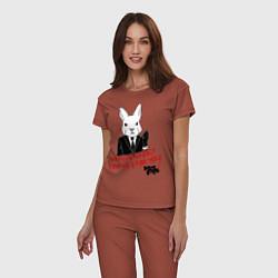 Пижама хлопковая женская Misfits: White rabbit цвета кирпичный — фото 2