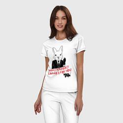 Пижама хлопковая женская Misfits: White rabbit цвета белый — фото 2
