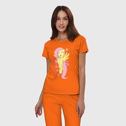 Пижама хлопковая женская Флаттершай и бабочки цвета оранжевый — фото 2
