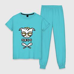 Пижама хлопковая женская R6S DOKKAEBI цвета бирюзовый — фото 1