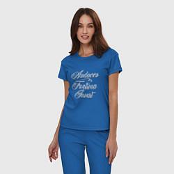 Пижама хлопковая женская Audaces Fortuna Juvat цвета синий — фото 2