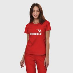 Пижама хлопковая женская Akinfeev Style цвета красный — фото 2