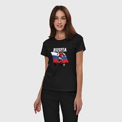 Пижама хлопковая женская Football Russia цвета черный — фото 2
