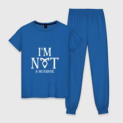 Пижама хлопковая женская I'm not a mundane цвета синий — фото 1