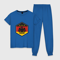 Пижама хлопковая женская Немецкий фанат цвета синий — фото 1