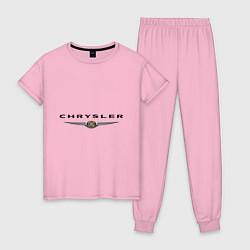 Пижама хлопковая женская Chrysler logo цвета светло-розовый — фото 1