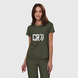 Пижама хлопковая женская CR7 цвета меланж-хаки — фото 2