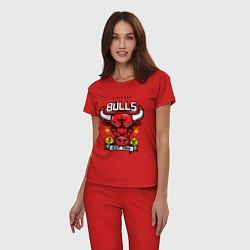 Пижама хлопковая женская Chicago Bulls est. 1966 цвета красный — фото 2