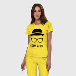 Пижама хлопковая женская Look at me цвета желтый — фото 2