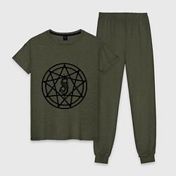 Пижама хлопковая женская Slipknot Pentagram цвета меланж-хаки — фото 1