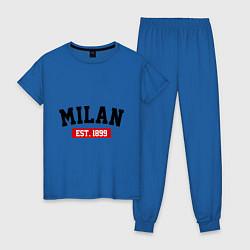 Пижама хлопковая женская FC Milan Est. 1899 цвета синий — фото 1