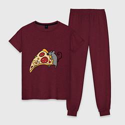 Пижама хлопковая женская Кусочек пиццы парная цвета меланж-бордовый — фото 1